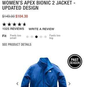 North Face Woman's Apex Bionic 2 - Small - NWT
